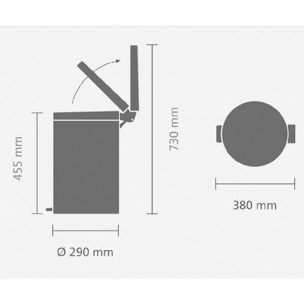 Мусорный бак с педалью 20 л классический серый металлик