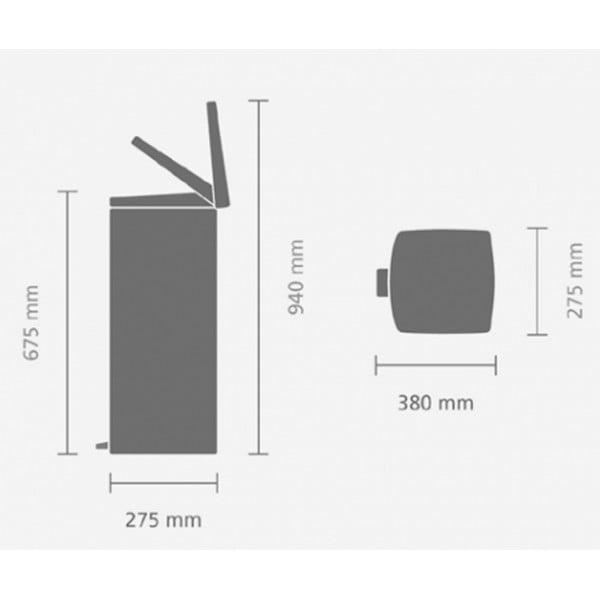 Прямоугольный мусорный бак с педалью 25 л стальной полированный