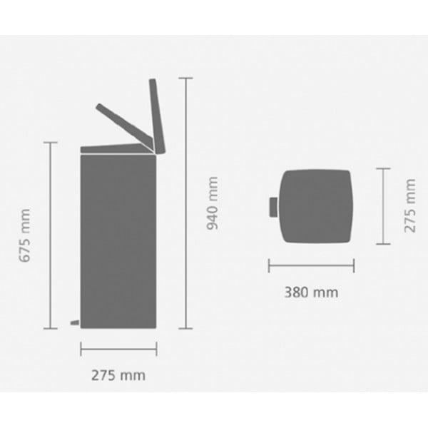 Прямоугольный мусорный бак с педалью 25 л стальной матовый FFP