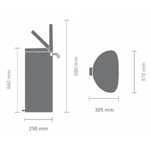 Мусорный бак с педалью FlatBack+ 30 л стальной матовый FPP