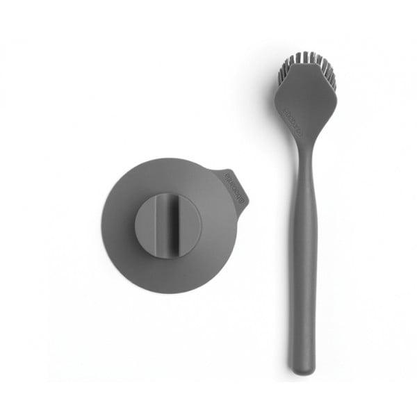 Щетка для мытья посуды с держателем на присоске темно-серый