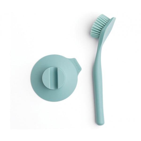 Щетка для мытья посуды с держателем на присоске мятный