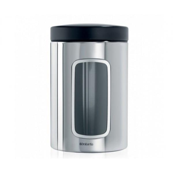 Контейнер для сыпучих продуктов с окном 1,4 л стальной полированный