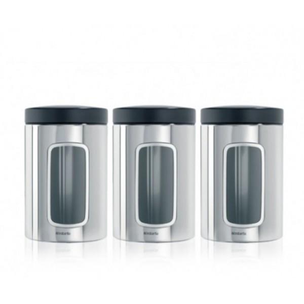 Набор контейнеров для сыпучих продуктов с окном 1,4 л 3 шт. стальной полированный