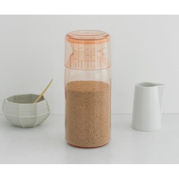 Пластиковая банка с мерным стаканом 1,3 л розовый