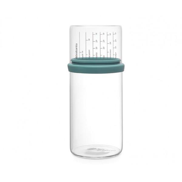 Стеклянная банка с мерным стаканом 1 л мятный