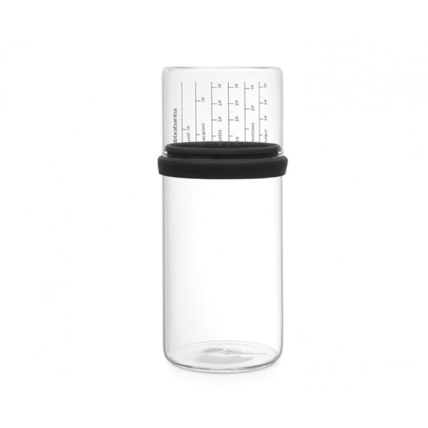 Стеклянная банка с мерным стаканом 1 л серый