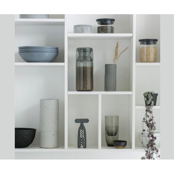 Пластиковая банка с мерным стаканом 1,3 л серый
