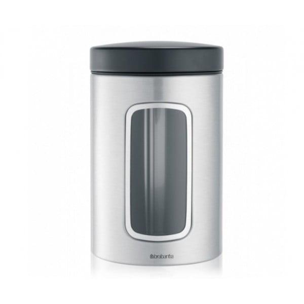 Контейнер для сыпучих продуктов с окном 1,4 л стальной матовый FPP