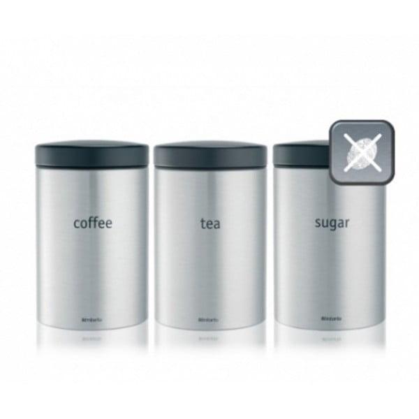 Набор контейнеров для кофе, чая и сахара 1,4 л стальной матовый FPP