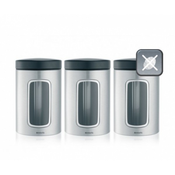 Набор контейнеров для сыпучих продуктов с окном 1,4 л 3 шт стальной матовый FPP
