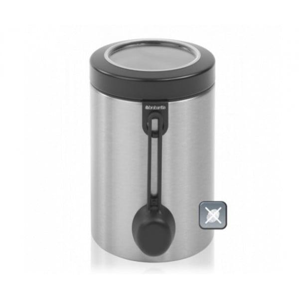 Контейнер для сыпучих продуктов с окном на крышке 1,4 л с мерной ложкой стальной матовый FPP