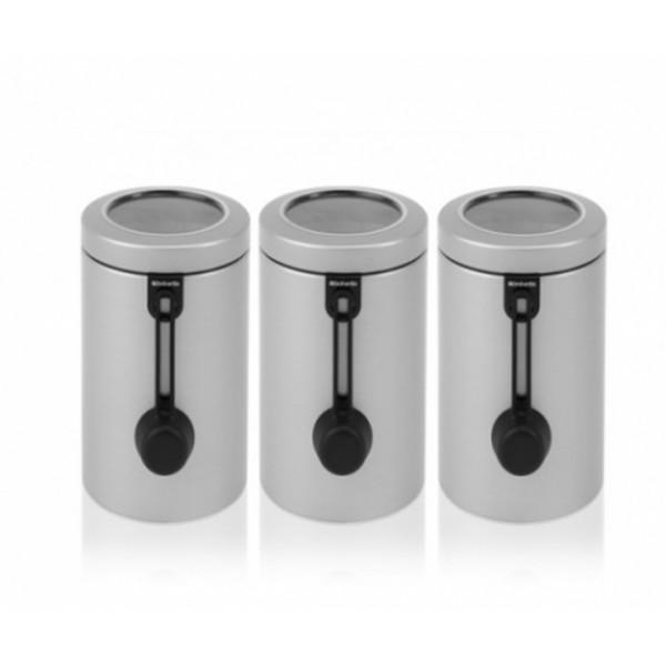 Набор контейнеров для сыпучих продуктов с мерной ложкой 3 предмета 1,7 л серый металлик