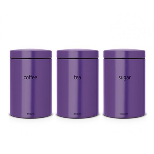 Набор контейнеров для кофе, чая и сахара 1,4 л фиолетовый