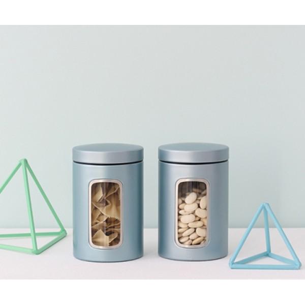 Контейнер для сыпучих продуктов с окном 1,4 л мятный металлик