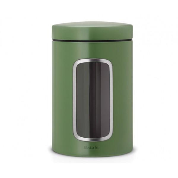 Контейнер для сыпучих продуктов с окном 1,4 л зеленый мох