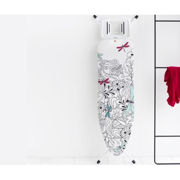 Гладильная доска 124х38 см (B) с подставкой для парового утюга белый