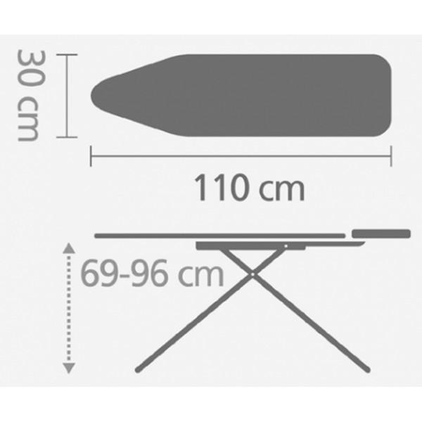 Гладильная доска 124х38 см (B) с подставкой для парового утюга весенняя зелень