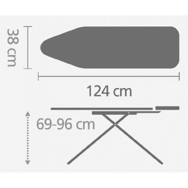 Гладильная доска 124х38 см (B) с подставкой для утюга серый металлик