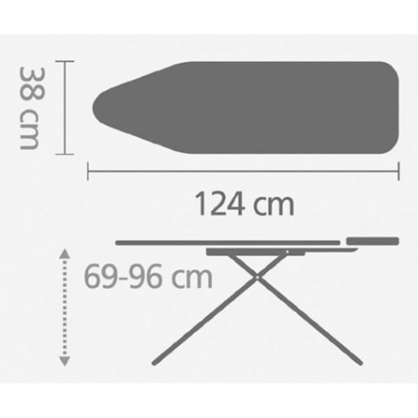 Гладильная доска 124х38 см (B) со стационарной подставкой для утюга слоновая кость