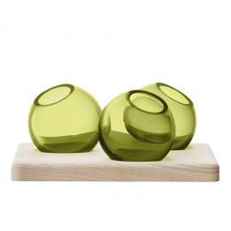 Трио ваз на подставке LSA International Axis 8 см зелёные