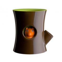 Горшок самополивающийся Log Squirrel коричневый-зеленый
