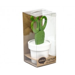 Ножницы Cactus с держателем белые с зеленым