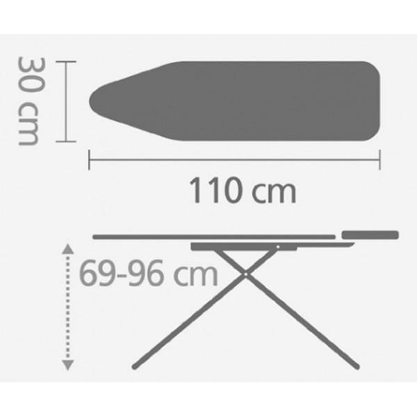 Гладильная доска 110х30 см (A) со стационарной подставкой для утюга слоновая кость