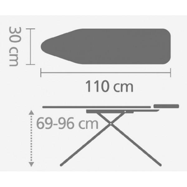 Гладильная доска 110х30 см (A) со стационарной подставкой для утюга, белый