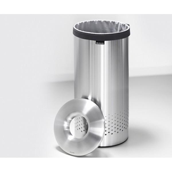 Бак для белья с металлической крышкой 35 л стальной полированный