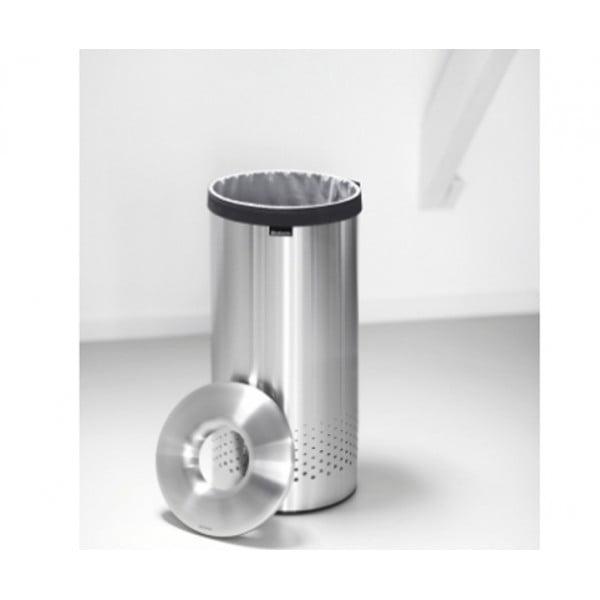 Бак для белья с металлической крышкой 35 л стальной матовый