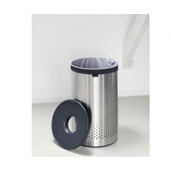 Бак для белья с пластиковой крышкой 60 л стальной матовый