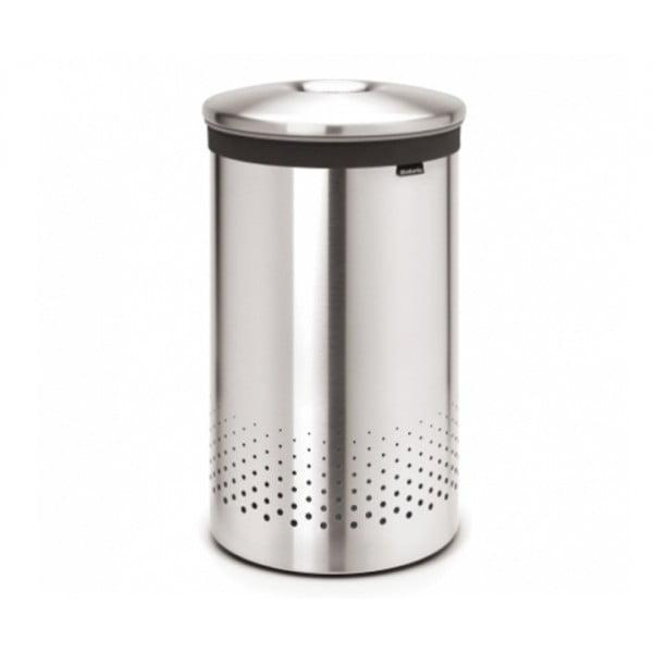 Бак для белья с металлической крышкой 60 л стальной матовый