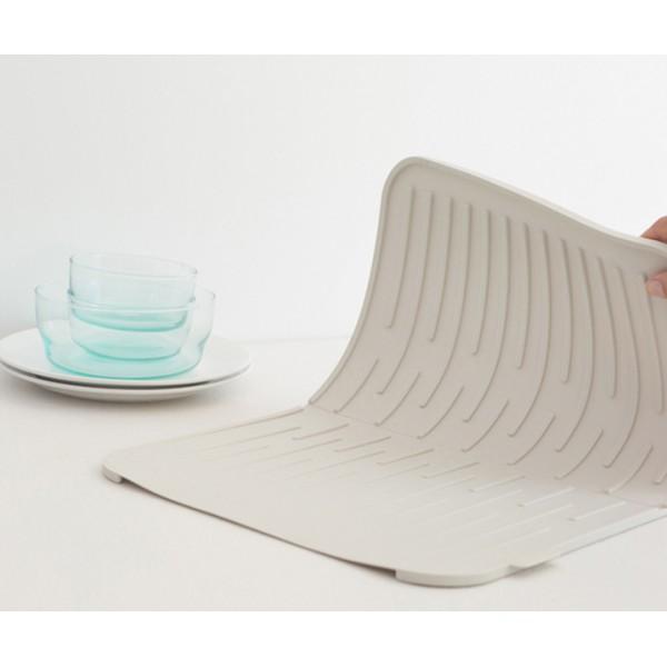 Силиконовый коврик для сушки посуды светло-серый