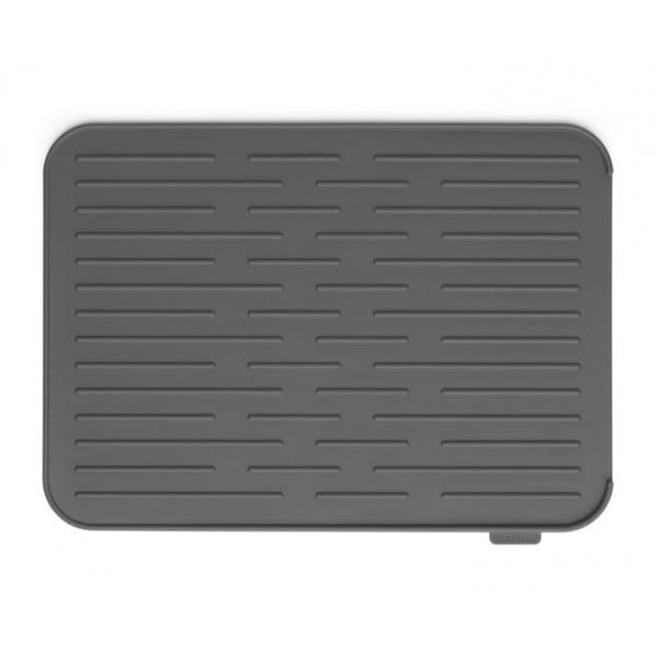 Силиконовый коврик для сушки посуды темно-серый
