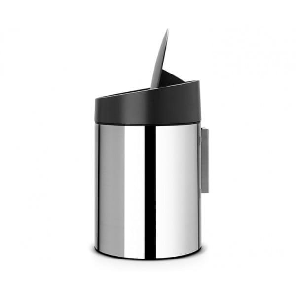 Мусорный бак Slide Bin 5 л стальной полированный с черной крышкой