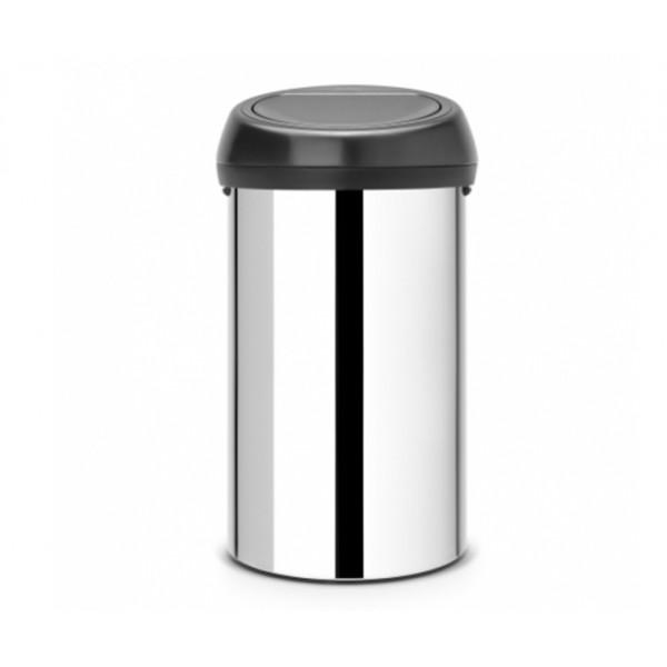 Мусорный бак Touch Bin 60 л cтальной полированный с черной крышкой
