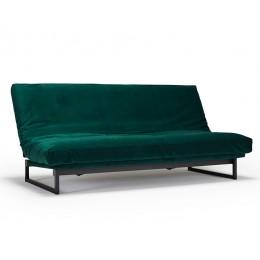 Диван Innovation Living Fraction с матрасом Spring Round черными ножками и защитным чехлом зеленый