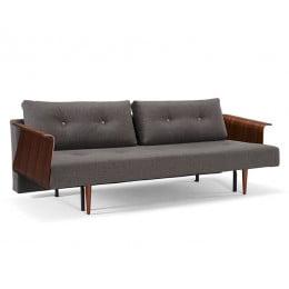 Диван Special Recast Plus с подлокотниками Rests из ореха и ножками из темного дерева темно-серый