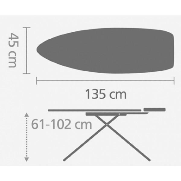 Гладильная доска 135х45 см (D) с силиконовой жаропрочной подставкой красный