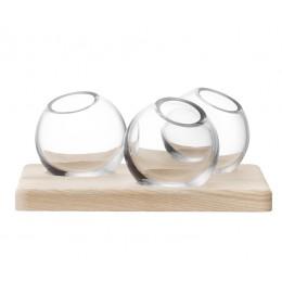 Трио ваз на подставке LSA Axis 8 см прозрачные