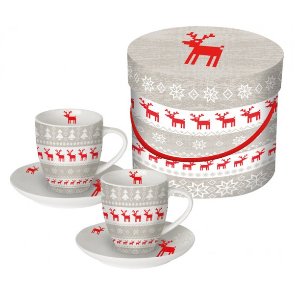 Набор чашек для эспрессо в подарочной коробке Magic Christmas серый