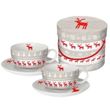 Набор чашек для капучино в подарочной коробке Magic Christmas серый