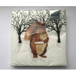 Салфетки бумажные Winter Squirrel 20 шт