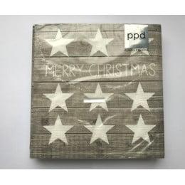 Салфетки бумажные Merry Christmas Stars Wood 20 шт
