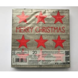 Салфетки бумажные Merry Christmas Stars red/wood 20 шт