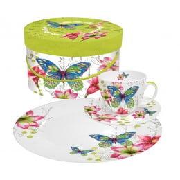 Набор чашка блюдце десертная тарелка в подарочной коробке Aporia