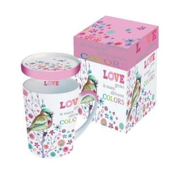 Кружка с крышкой в подарочной коробке Love Grows