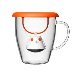 Кружка с емкостью для заваривания чая Birdie Swing Nest оранжевая