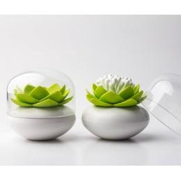 Контейнер для хранения ватных палочек Lotus белый-зеленый